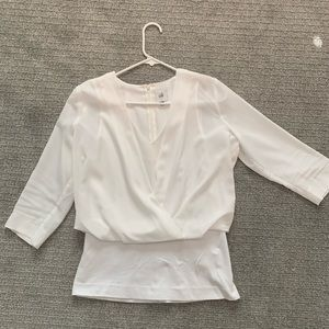 Cabi Double layer 3/4 sleeve white blouse